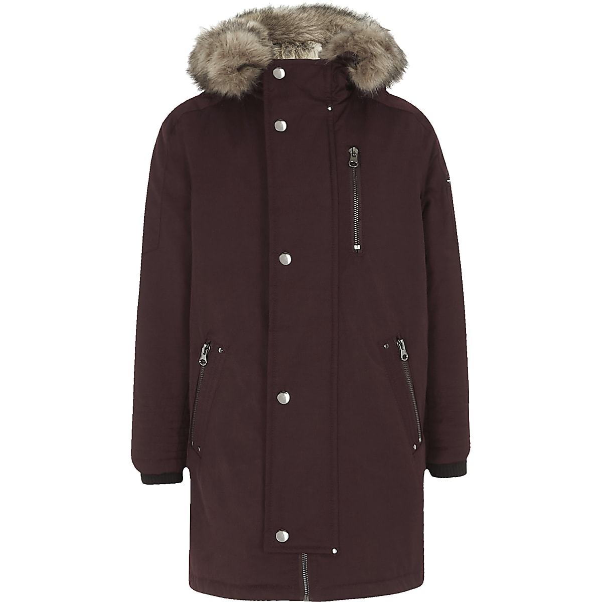 Boys luxe dark red faux fur lined parka