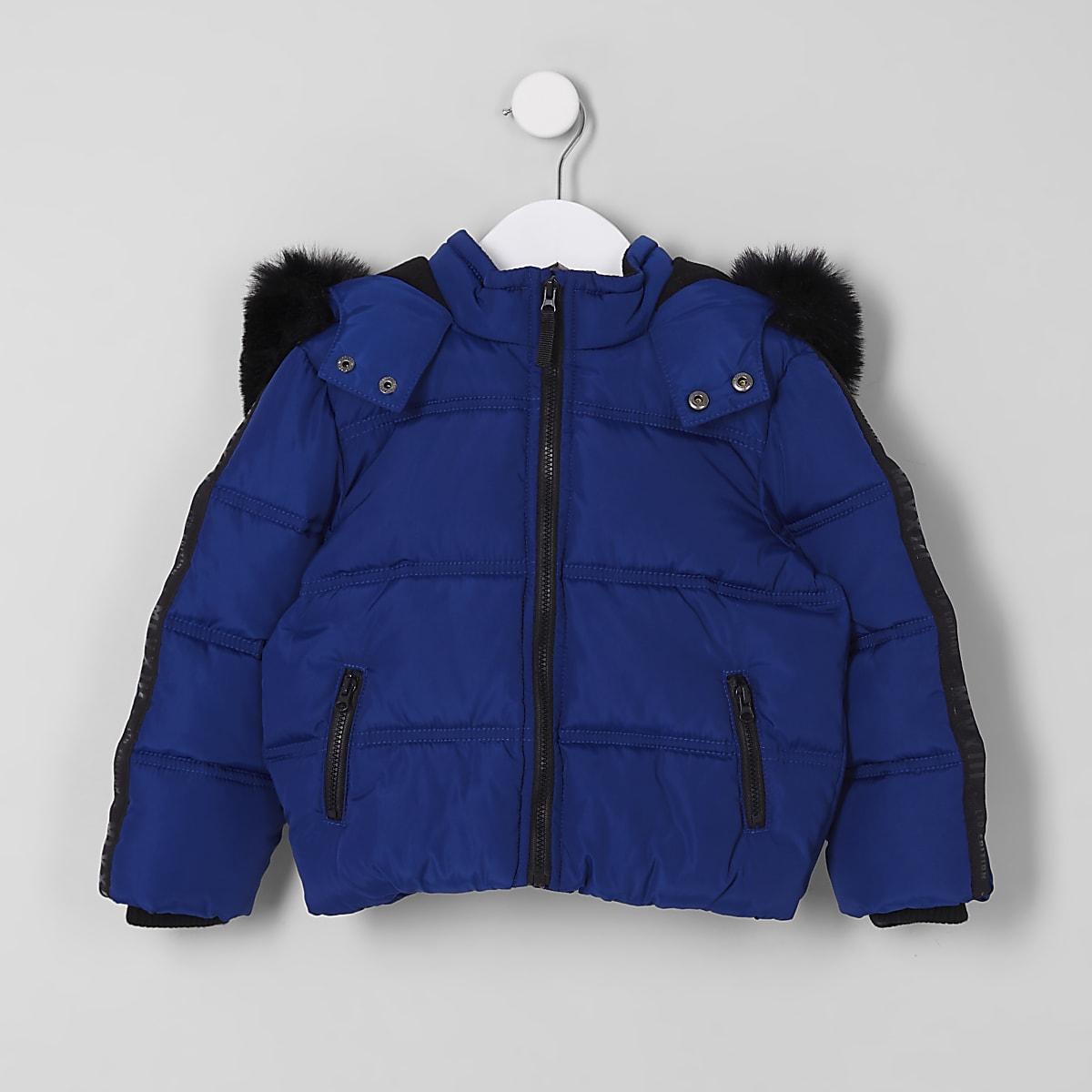 Mini boys blue faux fur hood puffer coat