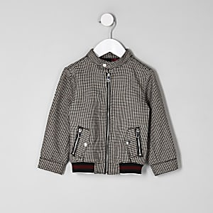 Mini boys brown check Harrington jacket