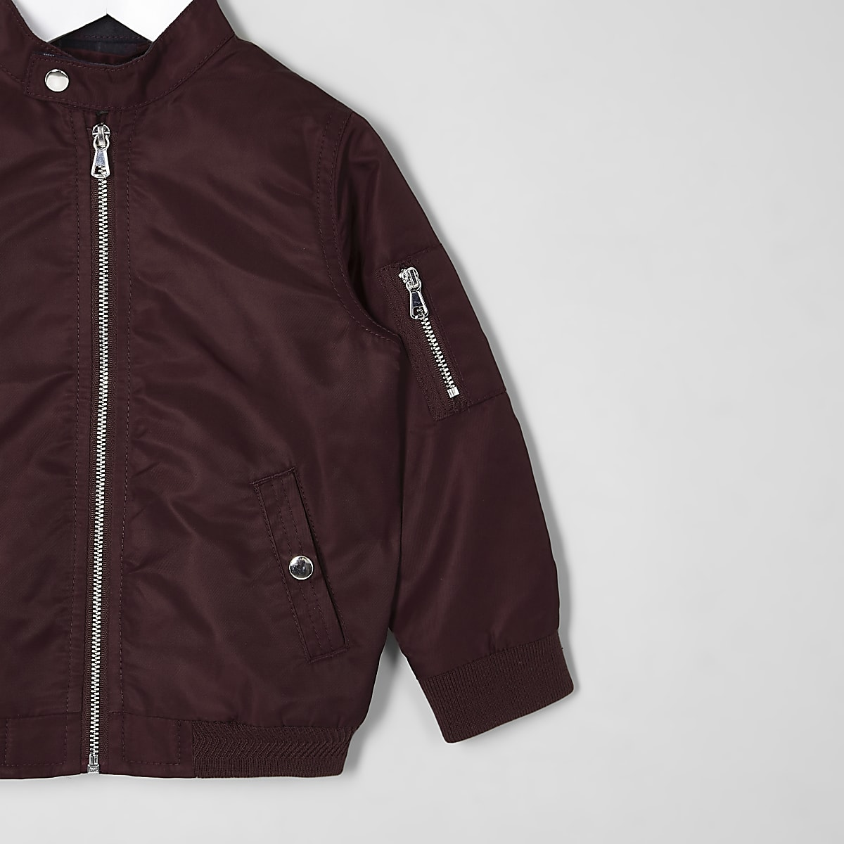 timeless design b260b c59c6 Mini boys dark red racer neck bomber jacket