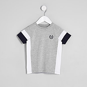 Mini boys grey color block RI T-shirt