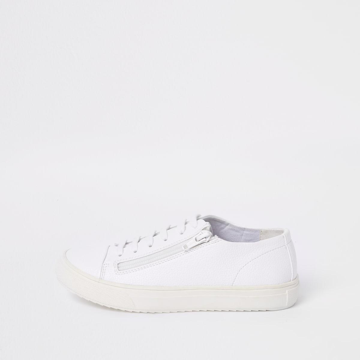 Witte sneakers met veters en rits voor jongens