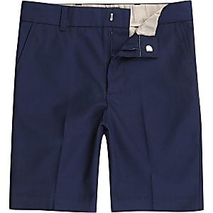 Marineblauwe slim-fit nette chinoshort voor jongens