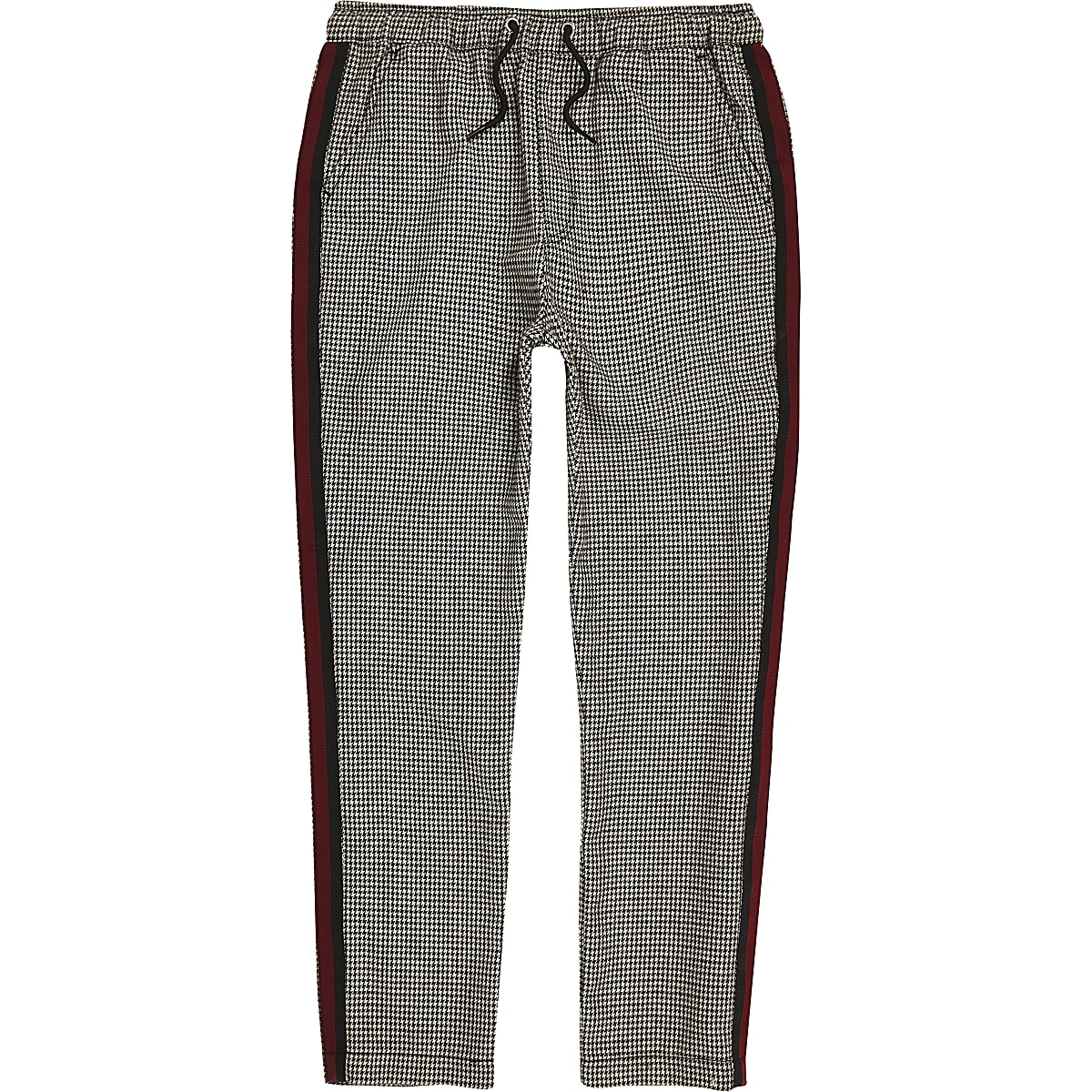 Boys check tape trousers