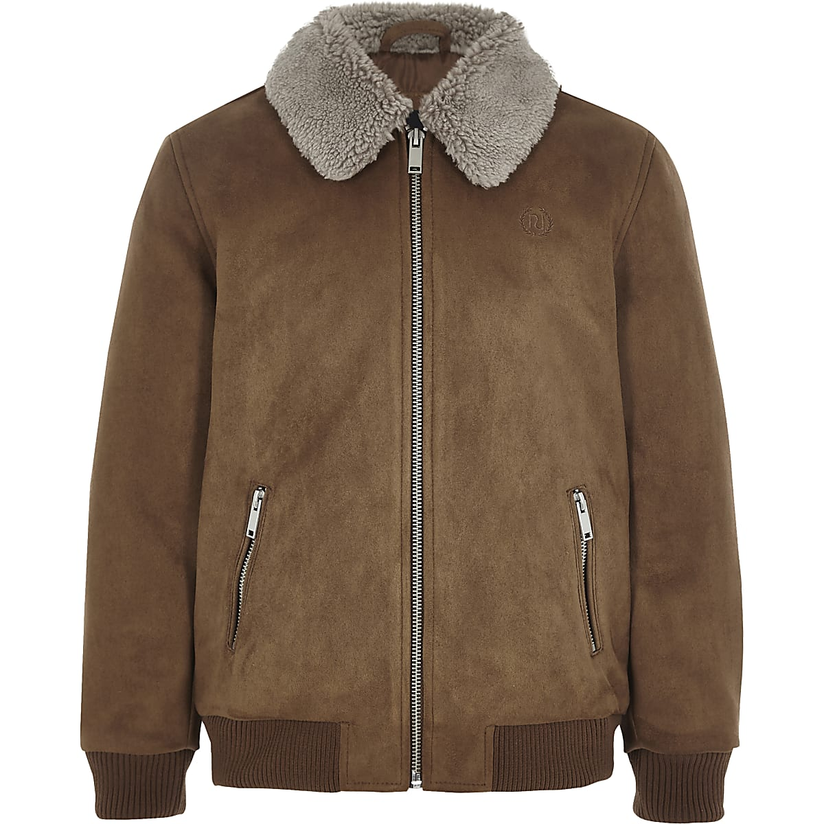17a1cd5ab Boys brown suedette Borg collar bomber jacket - Jackets - Coats ...