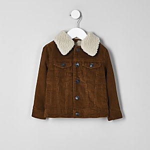 Mini boys brown cord trucker jacket