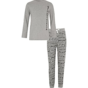 Boys grey 'totally awesome' print pajama set