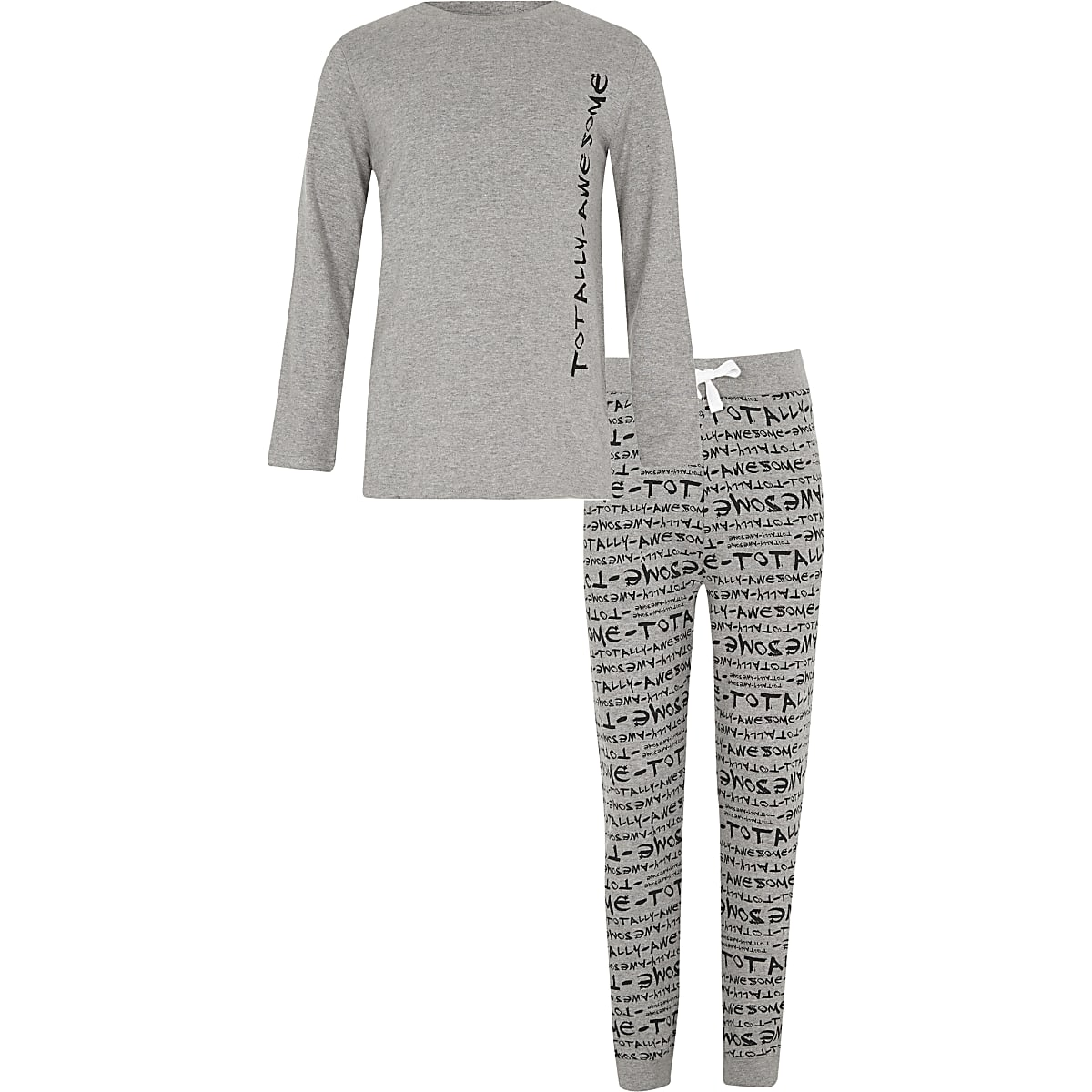Boys grey 'totally awesome' print pajama set