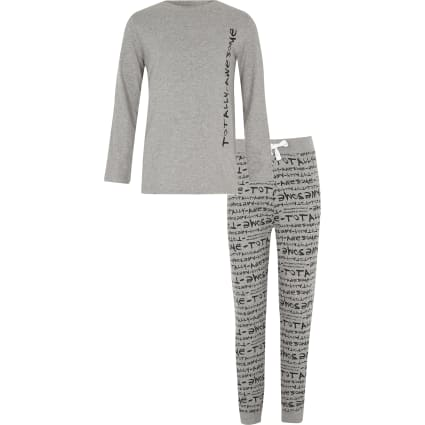 Boys grey 'totally awesome' print pyjama set