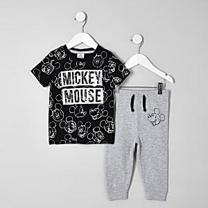 Mini - Zwarte pyjama-outfit met Mickey Mouse-print voor jongens