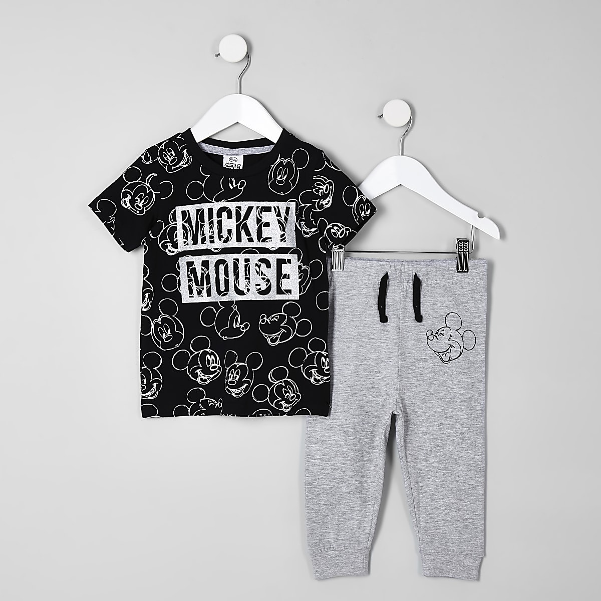 Mini boys black Mickey Mouse pyjama outfit