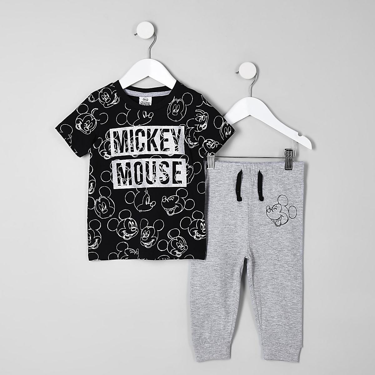Mini boys black Mickey Mouse pajama outfit