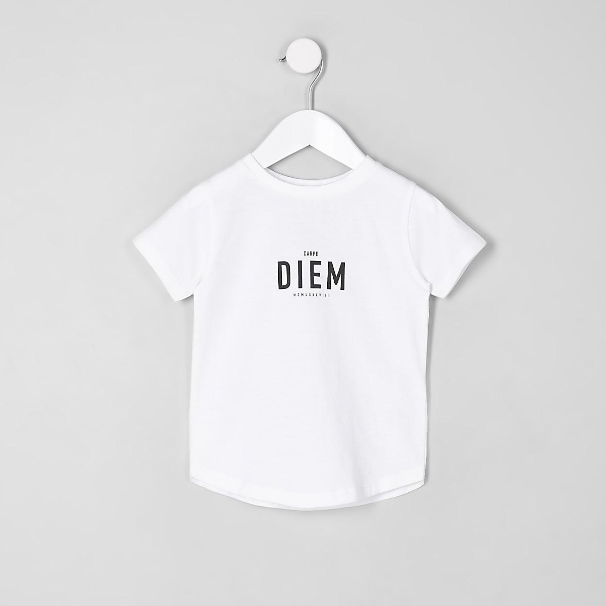 T-shirt « Carpe Diem » à ourlet arrondi mini garçon