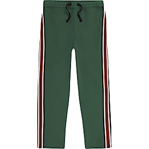 Boys green stripe tape tracksuit bottoms