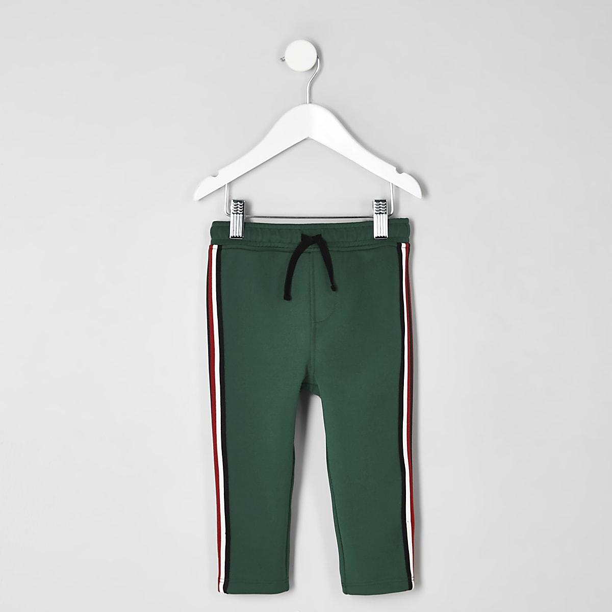 Mini boys dark green tape tracksuit bottoms