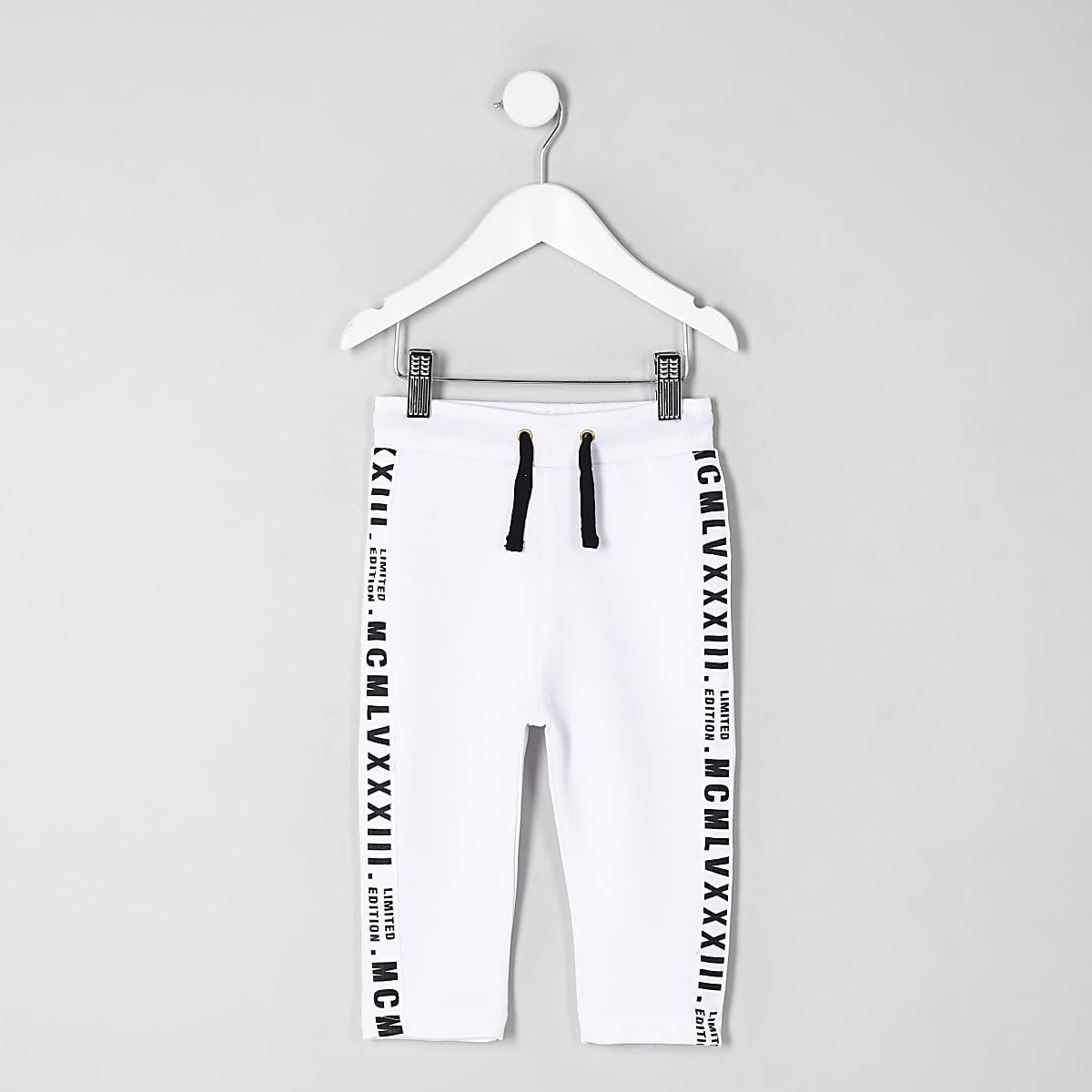 Mini boys white tape tracksuit bottoms