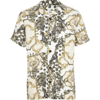 Boys yellow chain print shirt