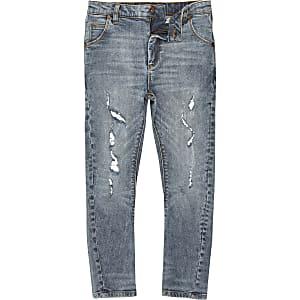 Tony – Mittelblaue Loose Fit Jeans im Used-Look