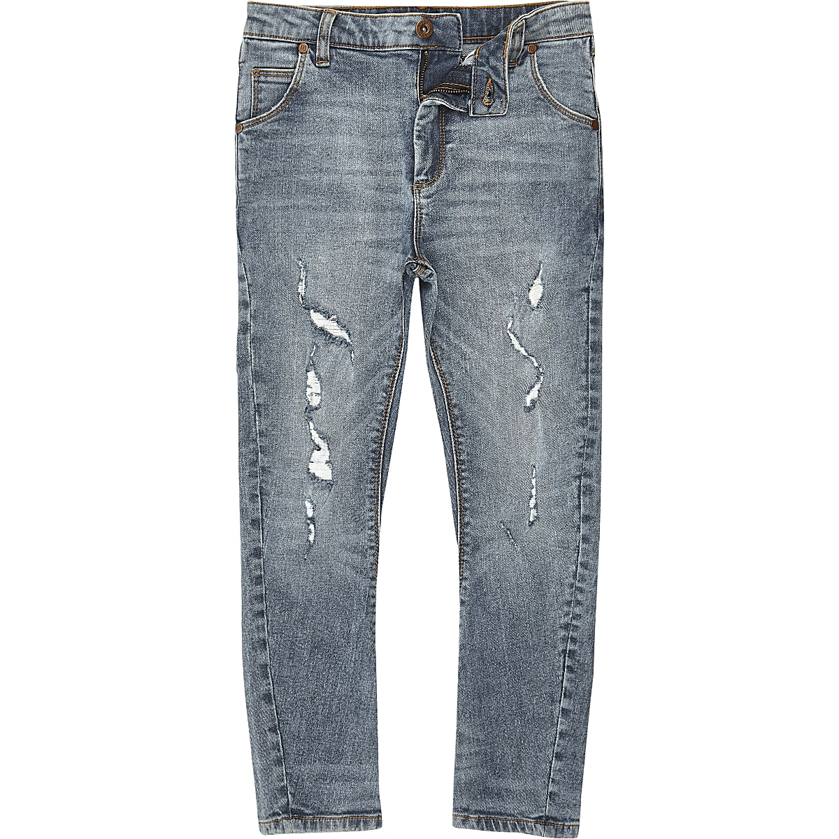 Boys mid blue wash ripped Tony slouch jeans