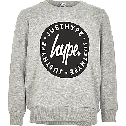 Boys Hype grey crew neck sweatshirt
