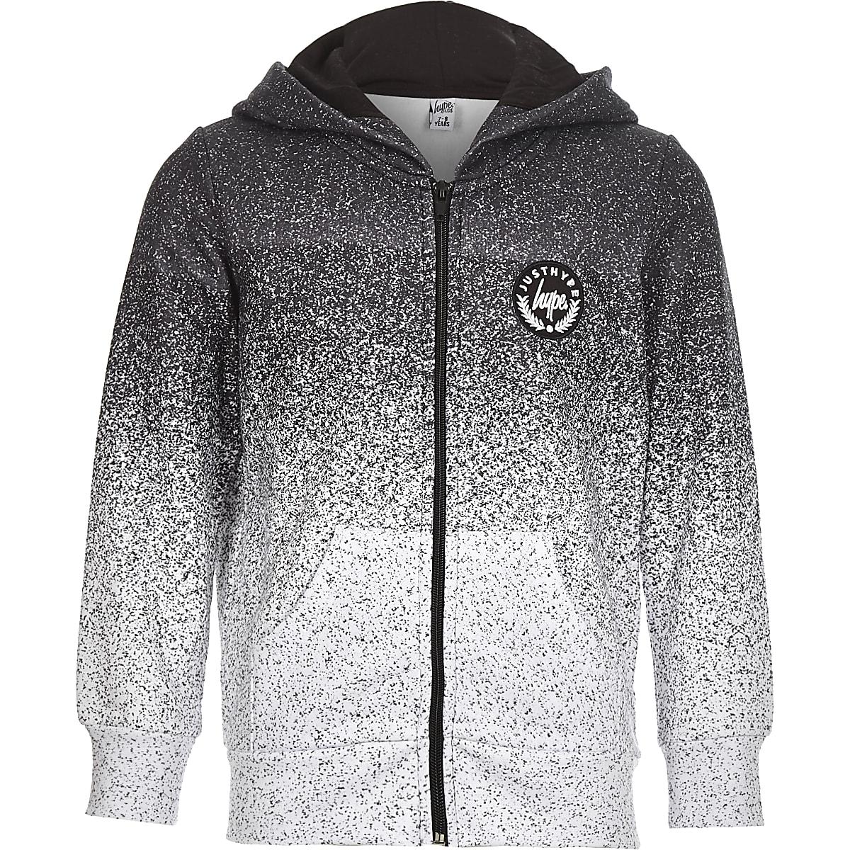 Hype – Sweat à capuche moucheté gris zippé sur le devant