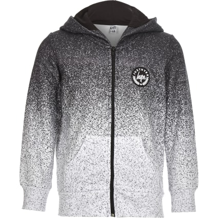 Boys Hype grey speckled zip front hoodie
