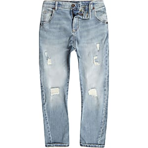 Boys light blue wash Tony slouch ripped jeans