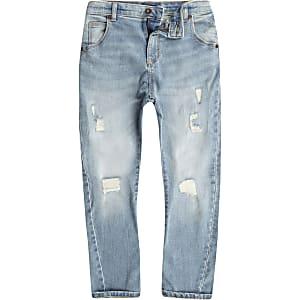 Tony - Lichtblauwe wash ruimvallende ripped jeans voor jongens