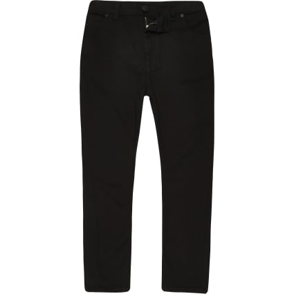 Boys black Tony tapered slouch jeans