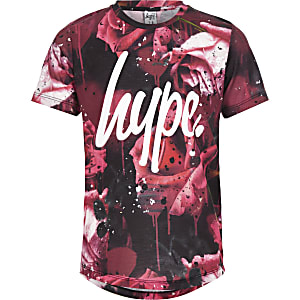 Hype – Rotes T-Shirt mit Rosenprint