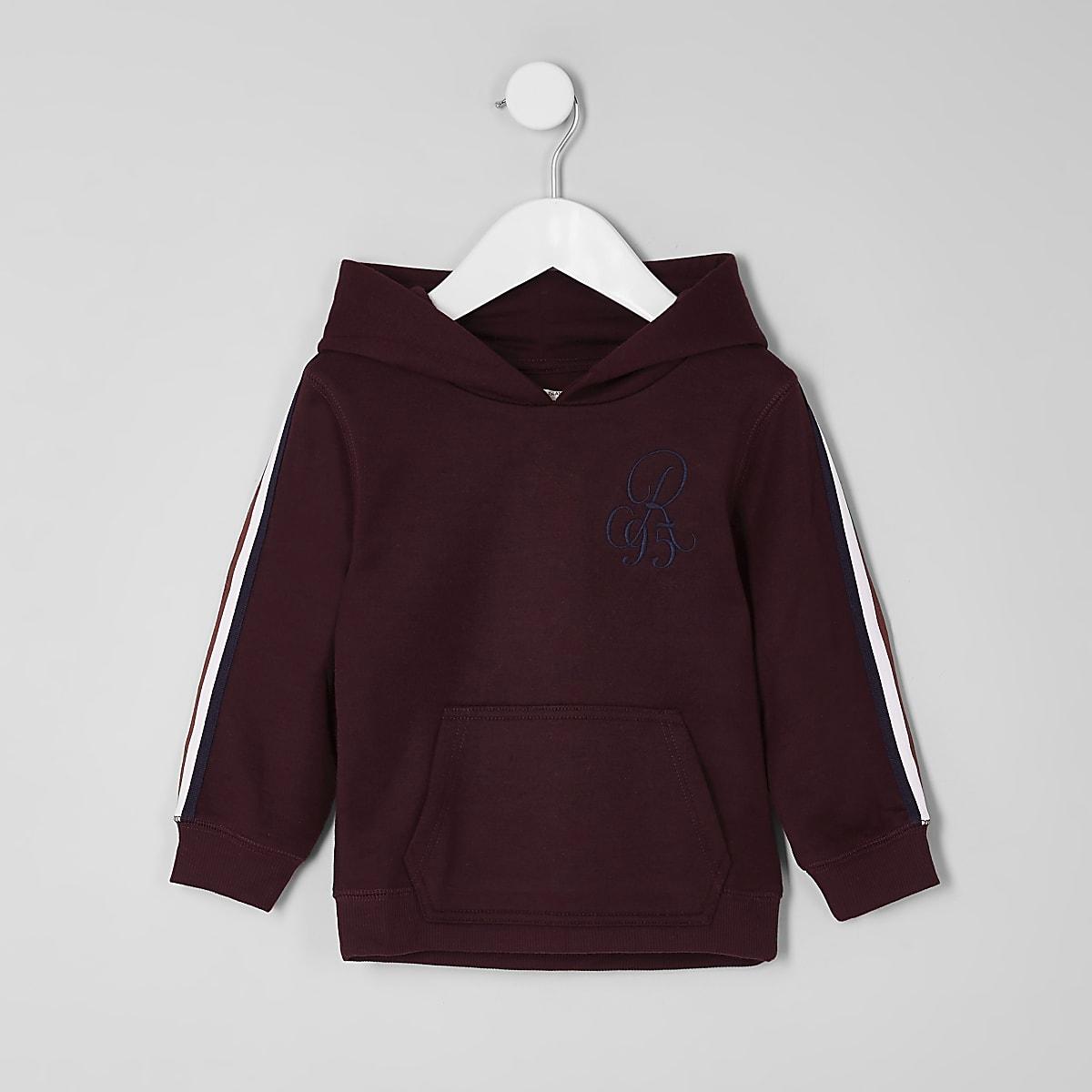 Mini boys dark red tape sleeve hoodie
