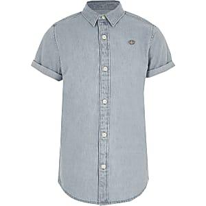 Lichtblauw denim overhemd met korte mouwen voor jongens