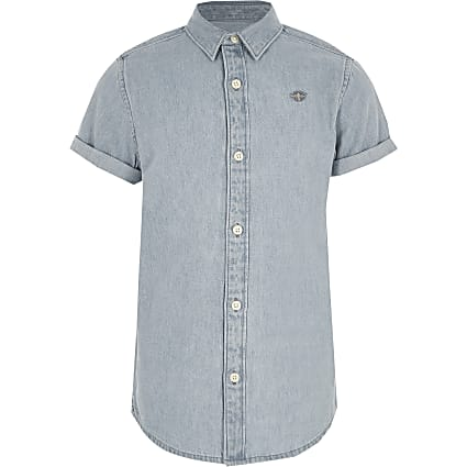 Boys light blue short sleeve denim shirt