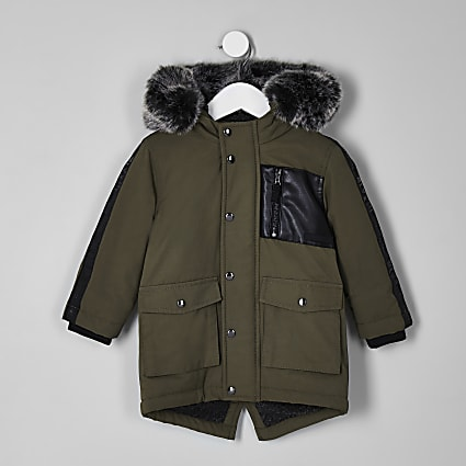 Mini boys khaki tape side patch hooded parka