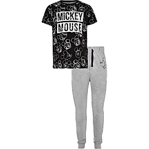 Mickey Mouse ‒ Schwarzer Pyjama in Metallic-Optik