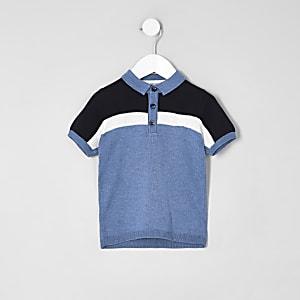 Polo bleu colour block mini garçon