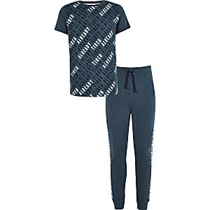 Marineblauwe pyjamaset met 'Already tired'-print voor jongens