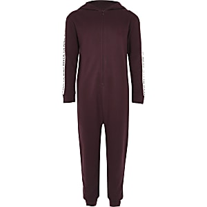 Boys dark red RI tape side onesie