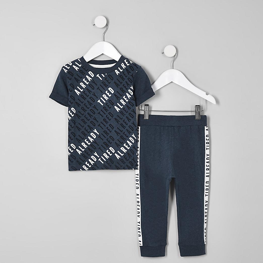 Mini boys navy 'Already tired' pyjama set