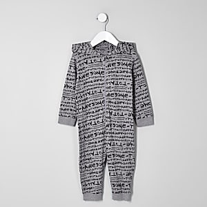Mini boys grey 'totally awesome' onesie