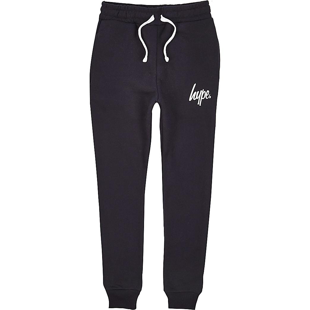 Boys Hype navy script tracksuit joggers