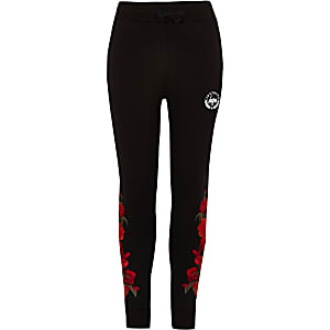 Hype - Zwarte joggingbroek met rozenprint voor jongens