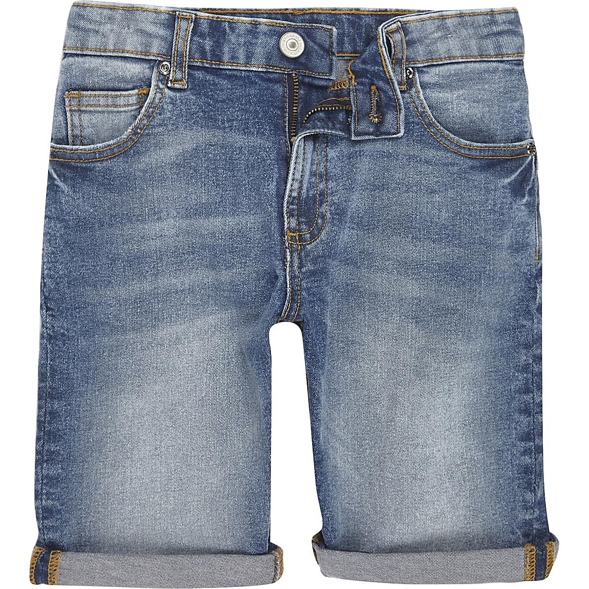 Dylan - Blauwe slim-fit denim short voor jongens