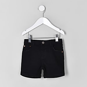 Mini boys black denim shorts