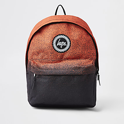 Boys black orange Hype speckled backpack