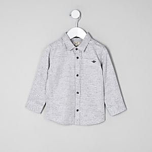 Mini boys grey herringbone shirt