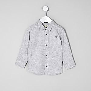 Mini - Grijs overhemd met visgraatmotief voor jongens