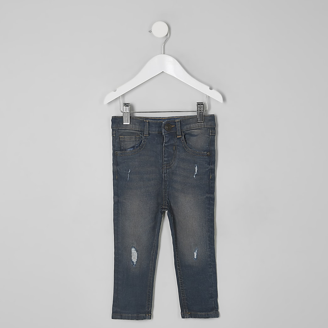 Mini boys dark denim Sid ripped skinny jeans