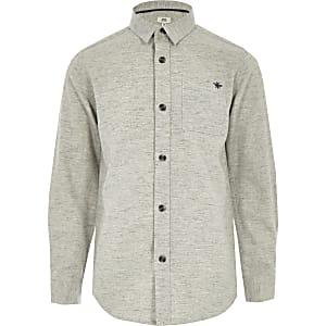 Grijs overhemd met lange mouwen en visgraatmotief voor jongens