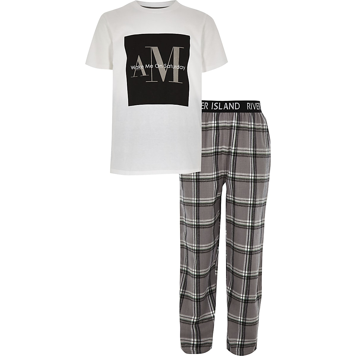 Boys grey 'Wake me' check pyjama set